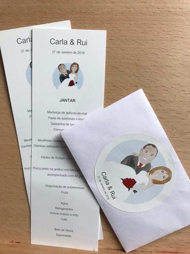 Wedding menu and invitation